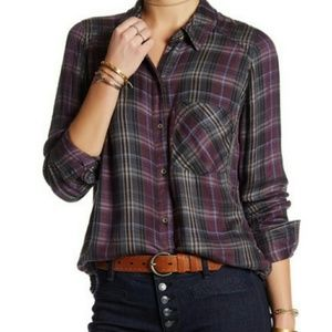 New Free People Joplin Plaid Button Down Shirt